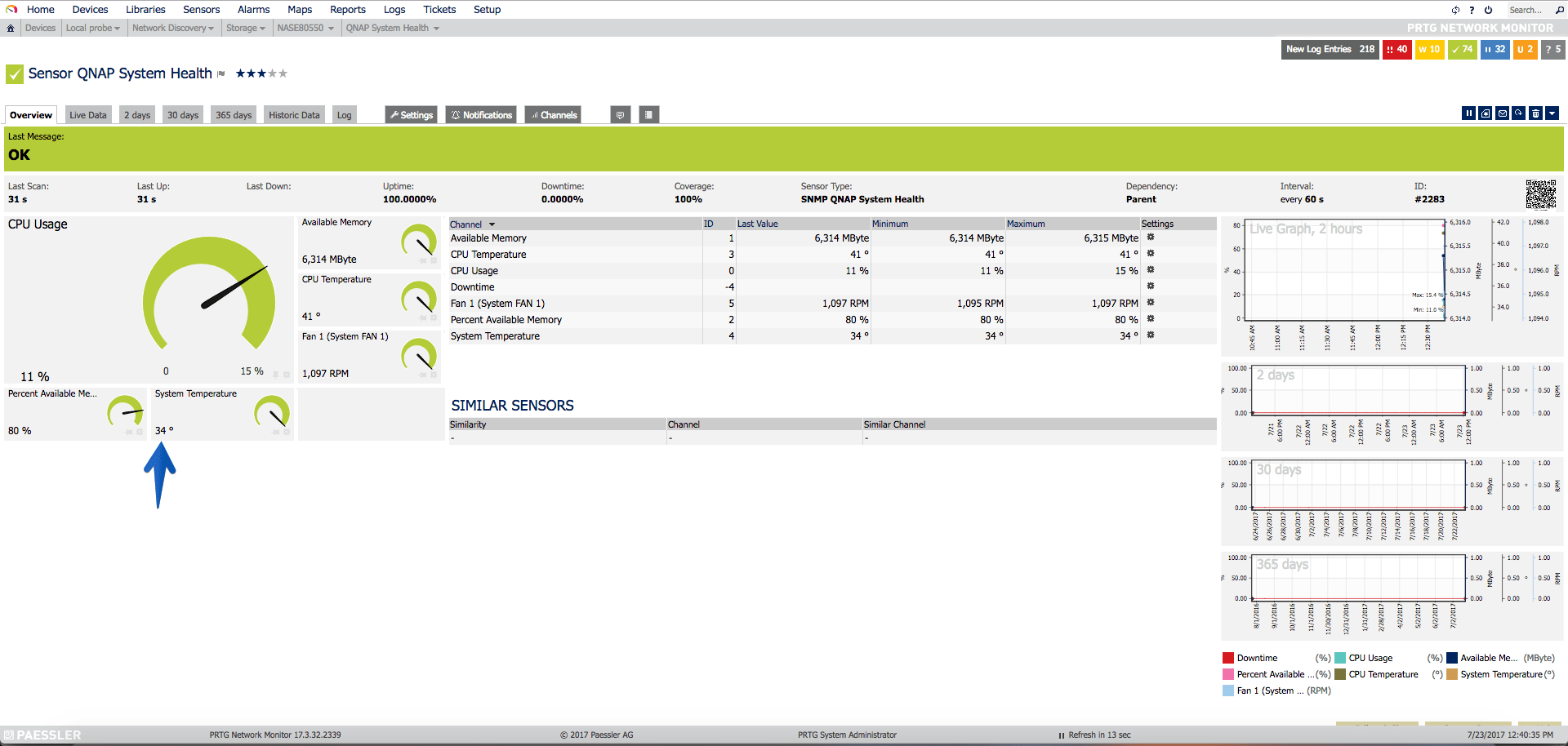 PRTG: How to monitor the status, disks, free space and much more