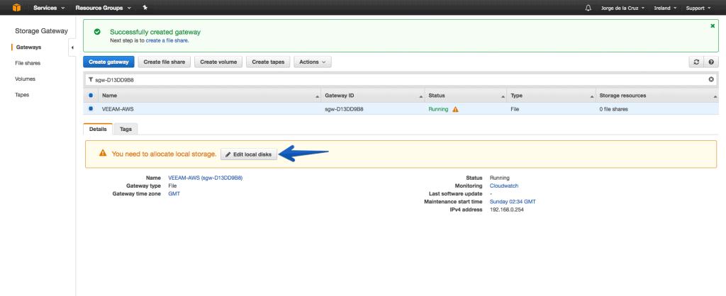 Veeam: Integration of AWS Storage Gateway with Veeam